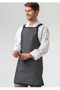 Reversible Cross Back Denim Bib Apron - black