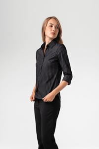 New York Women's 3/4 Blouse - mid grey/black/white