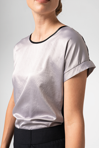 Cuba Women's S/S Top - silver/black