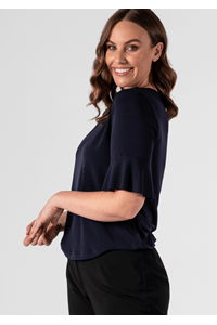 Roma Women's Frill Sleeve Top - navy
