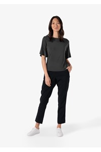 Roma Women's Frill Sleeve Top - charcoal
