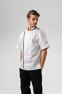 Chef Unisex S/S Contrast Jacket - white