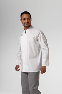 Chef Unisex L/S Flex Dome Jacket With Mesh Panels - white