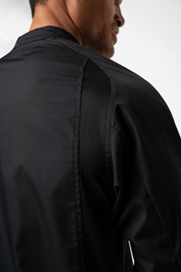 Chef Unisex L/S Flex Dome Jacket With Mesh Panels - black