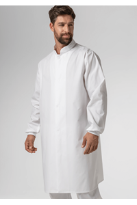 Food Dustcoat With Mandarin Collar - white
