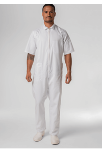 Food S/S Zip Overall With Pockets - white