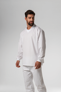 Food Top With Ribbing Collor - white