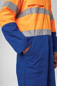 Hi Vis Day/Night Zip Overall - royal/orange