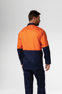 Hi Vis Day Domed Work Shirt - Cotton - orange/navy