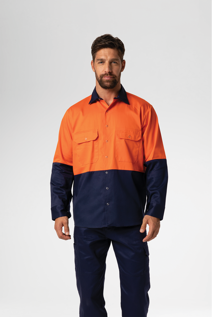 Hi Vis Day Domed Work Shirt - Cotton