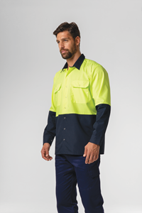 Hi Vis Day Domed Work Shirt - navy/yellow