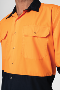 Hi Vis Day Domed Work Shirt - navy/orange