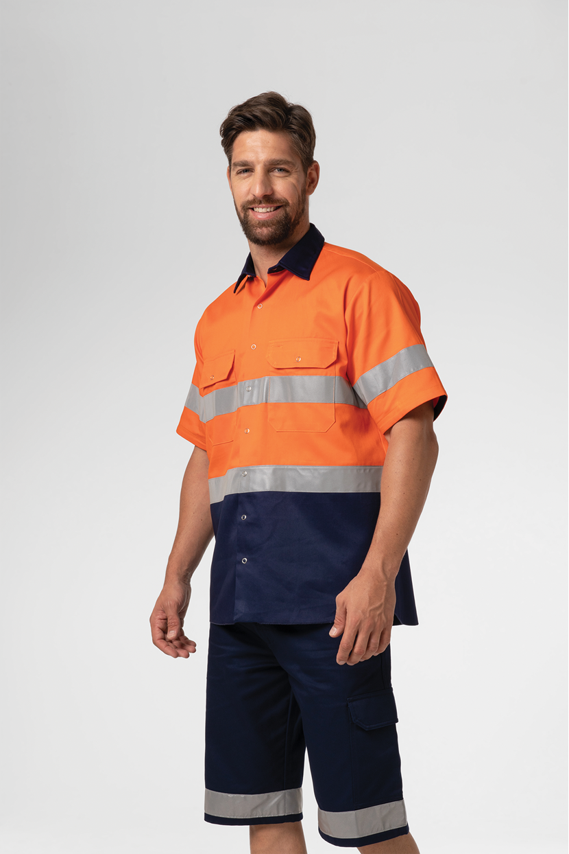 Hi Vis Day/Night S/S Domed Work Shirt