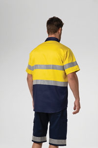 Hi Vis Day/Night S/S Domed Work Shirt - yellow/navy