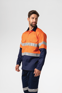 Hi Vis Day/Night Domed Work Shirt - orange/navy