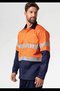 Hi Vis Day/Night Domed Work Shirt - orange/navy
