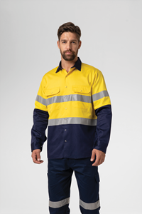 Hi Vis Day/Night Domed Work Shirt - yellow/navy