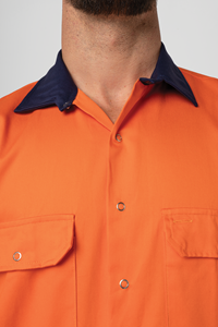 Hi Vis Day Domed Work Shirt - orange/navy