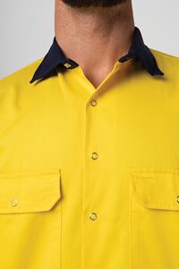 Hi Vis Day Domed Work Shirt - yellow/navy