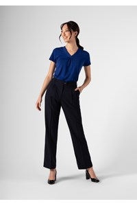 Soft Suiting Women's Twin Pleat Trouser - navy