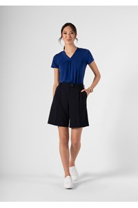 Women's Twin Pleat Short - navy