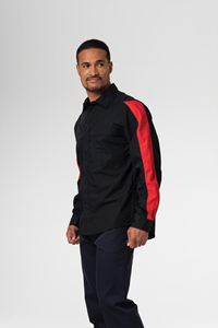 Pit Crew Men's Two Tone Work Shirt - black/red