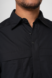 Pit Crew Men's Two Tone Work Shirt - black/grey