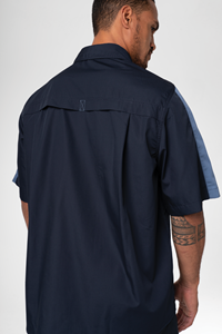 Pit Crew Men's S/S Two Tone Work Shirt - navy/postman