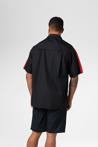 Pit Crew Men's S/S Two Tone Work Shirt - black/red