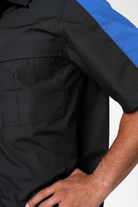 Pit Crew Men's S/S Two Tone Work Shirt - black/royal