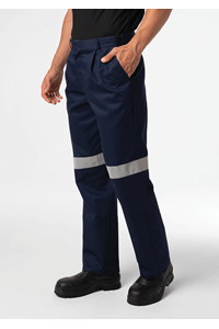 Men's Single Pleat Work Trouser With Tape - navy